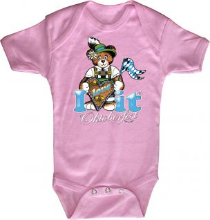 Babystrampler mit Print ? Oktoberfest - i love it- 12733 pink ? Gr. 12-18 Monate