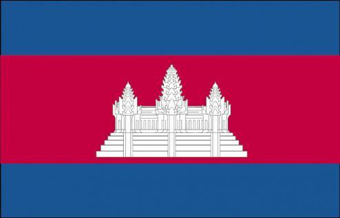 Länderfahne Stockländerfahne - Kambodscha - Gr. ca. 40x30cm - 77075 - Schwenkflagge