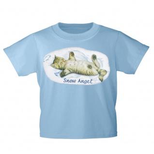 Kinder T-Shirt mit Print Cat Katzen Snow Angel Schnee-Engel KA058/1 Gr. hellblau / 134/146