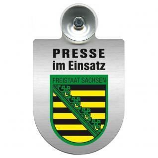 Einsatzschild Windschutzscheibe incl. Saugnapf - Presse im Einsatz - 309456-3 Region Freistaat Sachsen