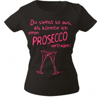 Girly-Shirt mit Print ...Prosecco vertragen ! G09087 schwarz Gr. S-2XL