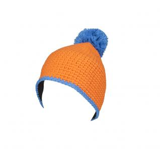 Häkelmütze m. Bommel Pudelmütze Bommelmütze Häkel-Mütze - 41666 Orange-Blau