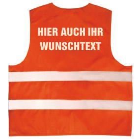 Warnweste mit Aufdruck - WUNSCHNAME - 11000 versch. Farben Orange / L/XL - Vorschau
