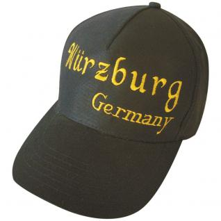 Cap - Schirmmütze mit goldfarbenen Großstick - Würzburg Germany- 68850 grau - Baumwollcap Cappy Baseballcap Hut