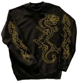 Sweatshirt mit Print - Drache Drake - 10114 - versch. farben zur Wahl - schwarz / S