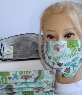 Textil Design-Maske waschbar aus Baumwolle - Unterwasserwelt + Zugabe