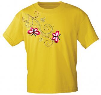 (12853) T- Shirt mit Glitzersteinen Gr. S - XXL in 16 Farben gelb / S