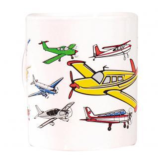 Tasse Kaffeebecher mit Print Segelflieger Flugzeuge 57123 weiß