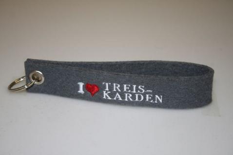 Filz-Schlüsselanhänger mit Stick - I love Treis Karden - Gr. ca. 17x3cm - 14329