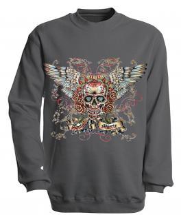 Sweatshirt mit Print - Santa Muerte - versch. farben zur Wahl - S10282 - Gr. grau / XXL