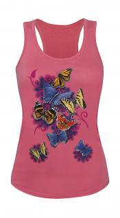 Tank-Top mit Print - Butterfly Schmetterlinge Blumen T09842 Gr. XS-2XL
