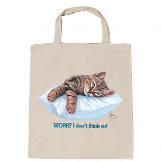 Baumwolltasche mit Print Katze Cat ruhend auf Kissen - KA072/3 natur