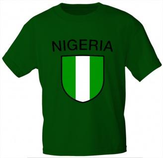 Kinder T-Shirt mit Print - Nigeria - 76121 - grün - Gr. 122/128