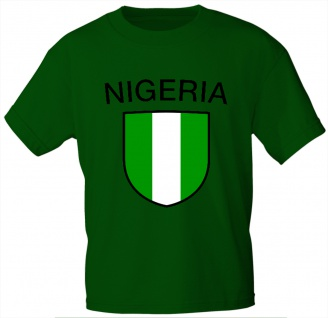 Kinder T-Shirt mit Print - Nigeria - 76121 - grün - Gr. 86/92
