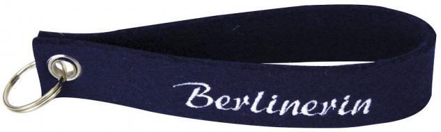 Filz-Schlüsselanhänger mit Stick Berlinerin Gr. ca. 17x3cm 14204 blau