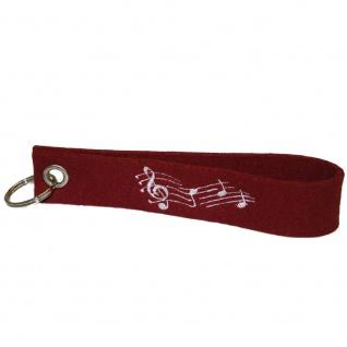 Filz-Schlüsselanhänger mit Stick Noten Musik Gr. ca. 17x3cm 14199 rot