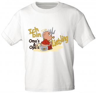 Kinder T-Shirt mit Print - ICH BIN OMAS UND OPAS LIEBLING - 08211 - weiß - Gr. 122/128