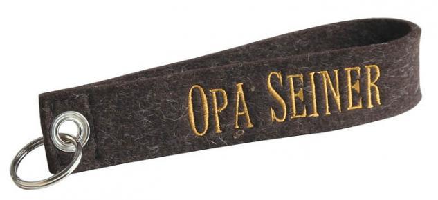 Filz-Schlüsselanhänger mit Stick - Opa seiner - Gr. ca. 17x3cm - 14063