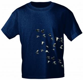 T-Shirt mit Print - Tauben Taubenschwarm - TB152/1 dunkelblau Gr. 3XL