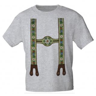 KINDER T-Shirt mit Print - Lederhose Hosenträger Blumen Edelweiß - 08231 Gr. grau / 134/146