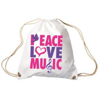 Trend-Bag Turnbeutel Sporttasche Rucksack mit Print - Peace Love Music - TB09017 weiß