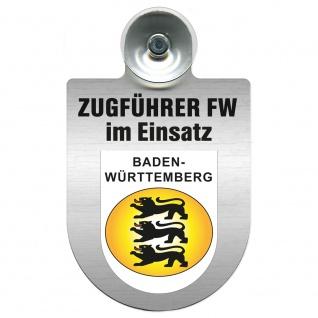 Einsatzschild Windschutzscheibe incl. Saugnapf - Zugführer Feuerwehr im Einsatz - 309749 - Region Baden-Württemberg
