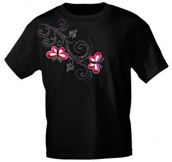 (12853) T- Shirt mit Glitzersteinen Gr. S - XXL in 16 Farben schwarz / L