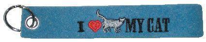 Filz-Schlüsselanhänger mit Stick I love my Cat Gr. ca. 17x3cm 14095 blau