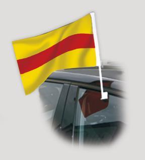 Autoscheiben-Fahne - BADEN - Gr. ca. 40 x 30 cm - 07932 - Fanflagge Fahne mit Klemmstab