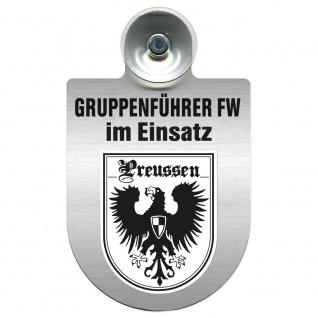 Einsatzschild Windschutzscheibe incl. Saugnapf - Gruppenführer Feuerwehr im Einsatz - 309750 Region Preussen