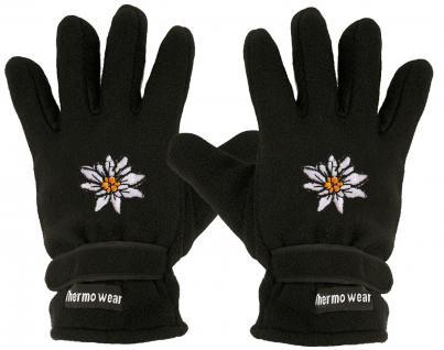 "(40385-56548) Fleece Handschuhe mit Einstickung "" EDELWEISS BLUME BLÜTE"""