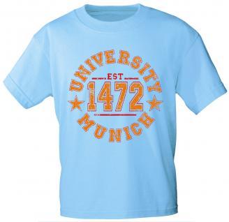 T-Shirt mit Print - University - EST 1472 - Munich - 09509 hellblau - Gr. M