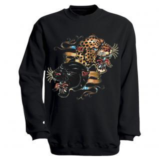 """Sweat- Shirt mit Motivdruck in 6 Farben """" Leopard"""" S12679 schwarz / L"""