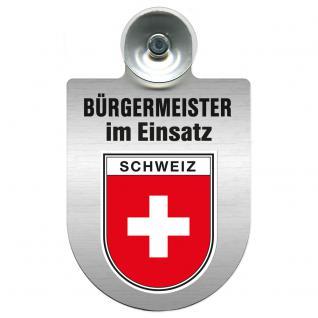 Einsatzschild Windschutzscheibe incl. Saugnapf - Bürgermeister im Einsatz - 309395-22 Region Schweiz