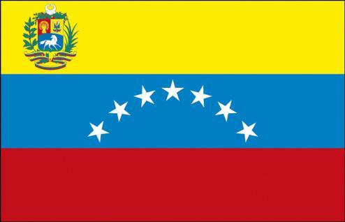 Schwenkfahne mit Holzstock - Venezuela - Gr. ca. 40x30cm - 77184 - Flagge, Fahne, Stockländerfahne