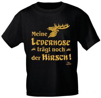 T-Shirt mit Print - Meine Lederhose trägt noch der Hirsch - 10754 schwarz - Gr. L