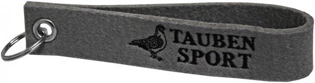 Filz-Schlüsselanhänger mit Einstickung Taube Taubensport Gr. ca. 17x3cm 14386 grau