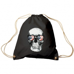 Sporttasche Turnbeutel Trend-Bag Print Totenkopf Skull USA Brille Sunglasses TB10982 schwarz