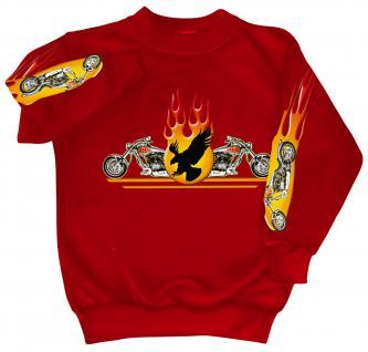Sweatshirt mit Print - Chopper Flammen Eagle - 10117 - versch. farben zur Wahl - rot / S