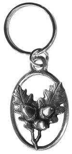 Metall- Schlüsselanhänger - Eichenblätter mit Eicheln - Gr. ca. 7x3cm - 13253