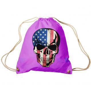 Trend-Bag Turnbeutel Sporttasche Rucksack mit Print - USA Skull - TB65311 Fuchsia