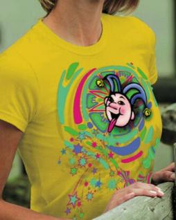 T-Shirt mit Print Karneval Fasching - Narrenkopf - 09514 - Gr. L