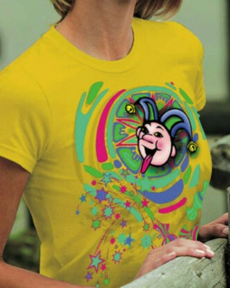 T-Shirt mit Print Karneval Fasching - Narrenkopf - 09514 - Gr. M