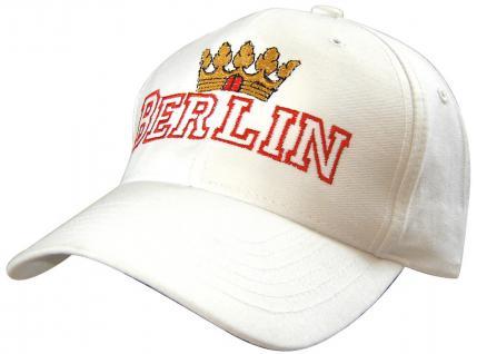 Cap mit Berlin - Stick - Krone Berlin - 68852-1 weiss - Baumwollcap Baseballcap Hut Cappy Schirmmütze
