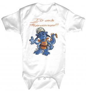 Baby-Body Babystrampler mit Print - Drache - Ich werd Feuerwehrmann - 12712 - 0-6 Monate