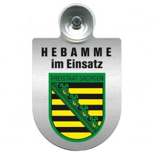 Einsatzschild Windschutzscheibe incl. Saugnapf -Hebamme im Einsatz - 309357-3 - Region Freistaat Sachsen