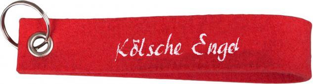 Filz-Schlüsselanhänger mit Stick Kölsche Engel Gr. ca. 17x3cm - 14125 rot
