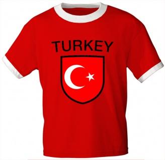 T-Shirt mit Print - Fahne Wappen Flagge Turkey Türkei - 76464 rot Gr. S