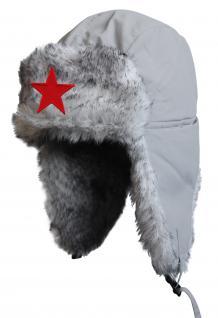 Chapka Fliegermütze Pilotenmütze Fellmütze in grau mit 28 verschiedenen Emblemen 60015 Stern