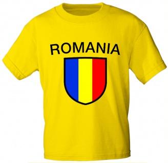 T-Shirt mit Print - Wappen Fahne Flagge Romania Rumänien - 76434 gelb Gr. S